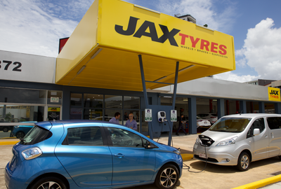 JAX Tyres launches its first electric car charging station in Woollongabba as part of national rollout. Image credit: JAX Tyres.