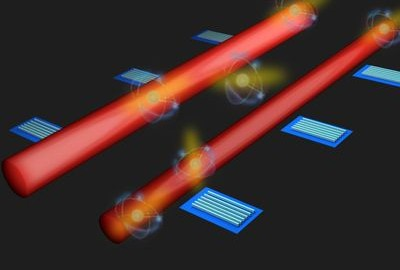 An artist's impression of the research team's innovative system of detectors along quantum circuits to monitor light particles. Image credit: Kai Wang, ANU.